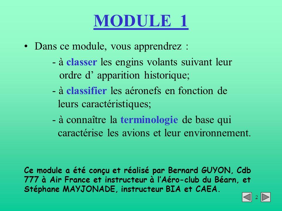 2 MODULE 1 Dans ce module, vous apprendrez : - à classer les engins volants suivant leur ordre d apparition historique; - à classifier les aéronefs en