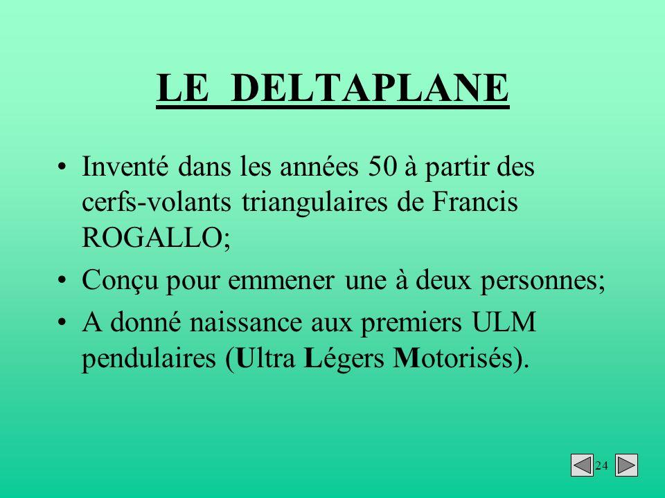 24 LE DELTAPLANE Inventé dans les années 50 à partir des cerfs-volants triangulaires de Francis ROGALLO; Conçu pour emmener une à deux personnes; A do