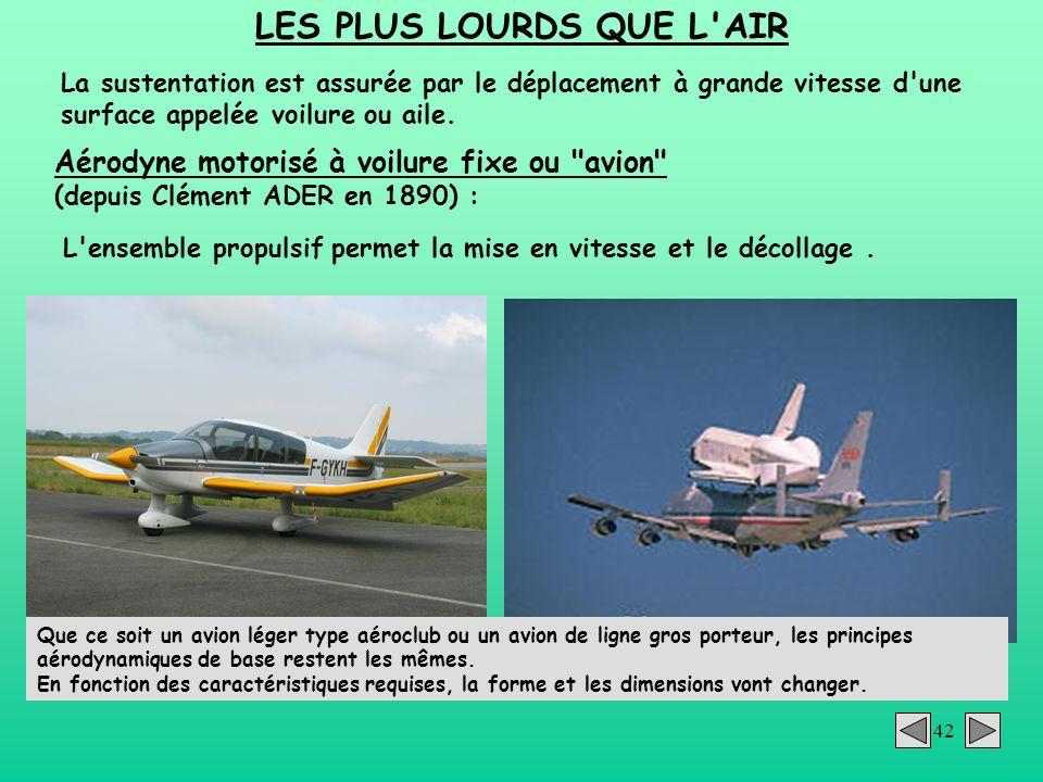 42 LES PLUS LOURDS QUE L'AIR La sustentation est assurée par le déplacement à grande vitesse d'une surface appelée voilure ou aile. Aérodyne motorisé