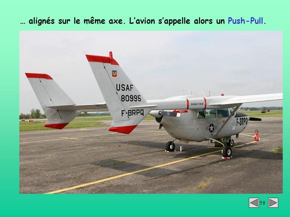 58 … alignés sur le même axe. Lavion sappelle alors un Push-Pull.