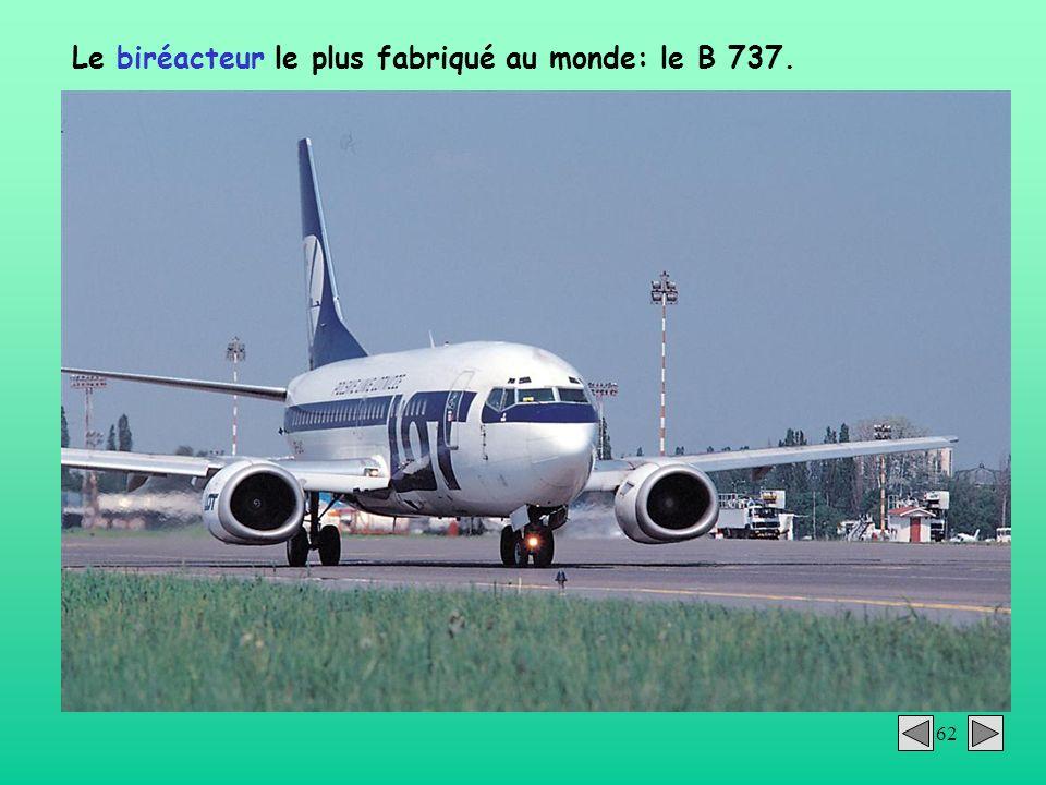 62 Le biréacteur le plus fabriqué au monde: le B 737.