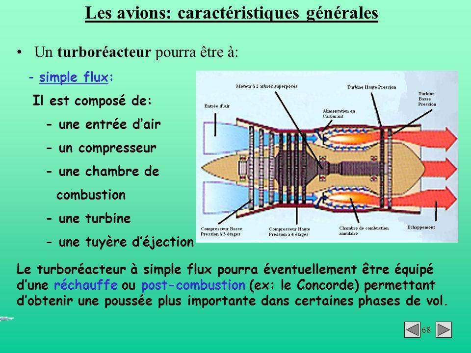 68 Les avions: caractéristiques générales Un turboréacteur pourra être à: - simple flux: Il est composé de: - une entrée dair - un compresseur - une c