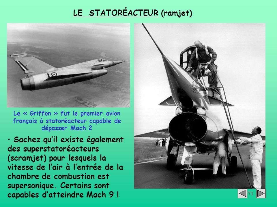 71 LE STATORÉACTEUR (ramjet) Le « Griffon » fut le premier avion français à statoréacteur capable de dépasser Mach 2 Sachez quil existe également des