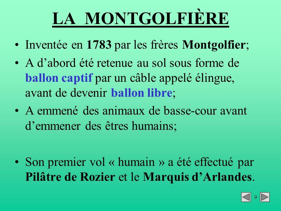 9 LA MONTGOLFIÈRE Inventée en 1783 par les frères Montgolfier; A dabord été retenue au sol sous forme de ballon captif par un câble appelé élingue, av