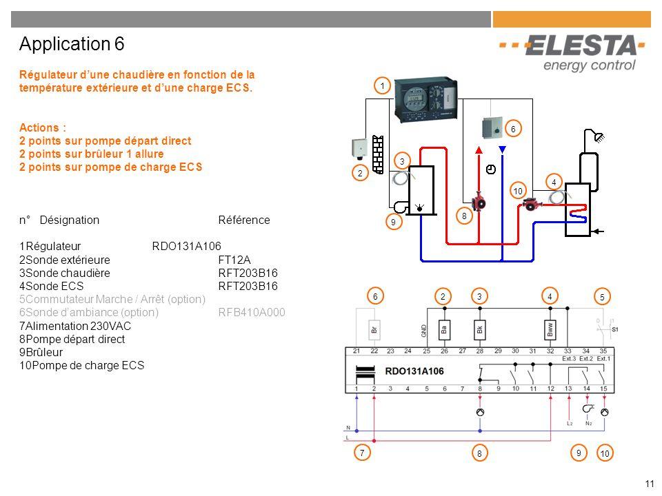 11 Application 6 Régulateur dune chaudière en fonction de la température extérieure et dune charge ECS. Actions : 2 points sur pompe départ direct 2 p