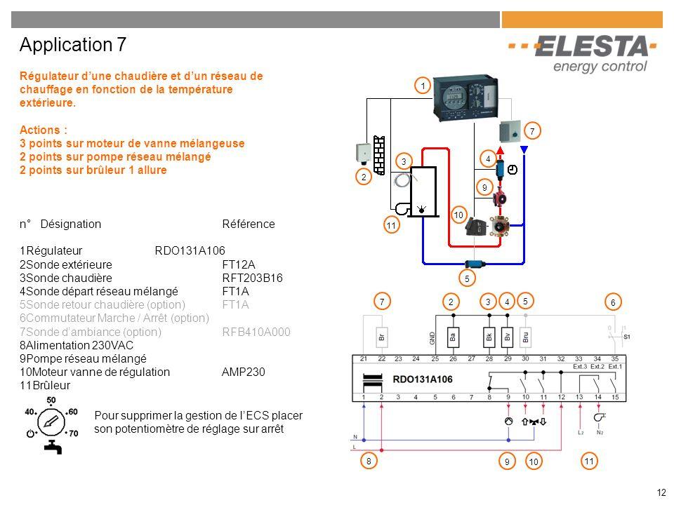 12 Application 7 Régulateur dune chaudière et dun réseau de chauffage en fonction de la température extérieure. Actions : 3 points sur moteur de vanne