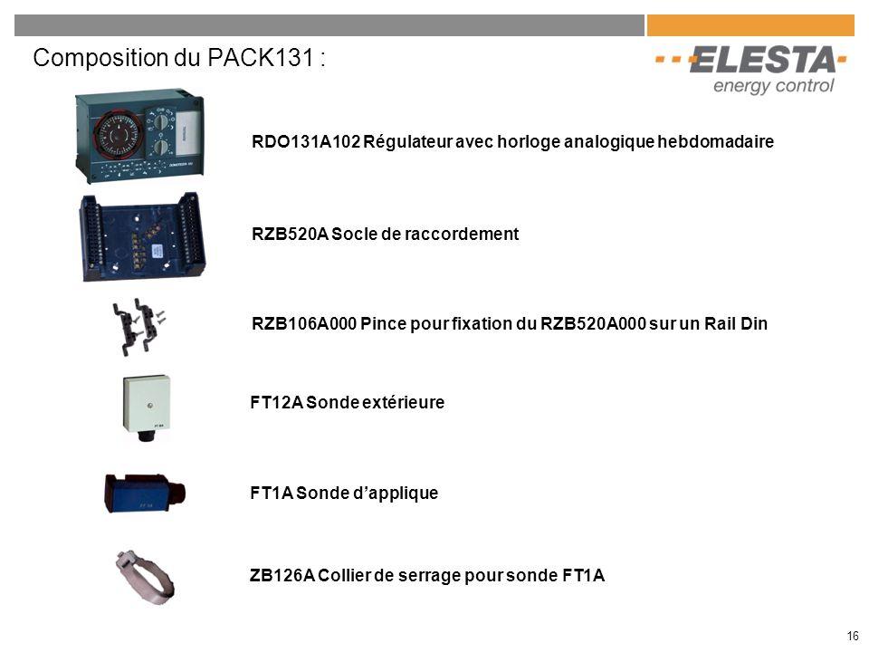 RZB520A Socle de raccordement RZB106A000 Pince pour fixation du RZB520A000 sur un Rail Din RDO131A102 Régulateur avec horloge analogique hebdomadaire