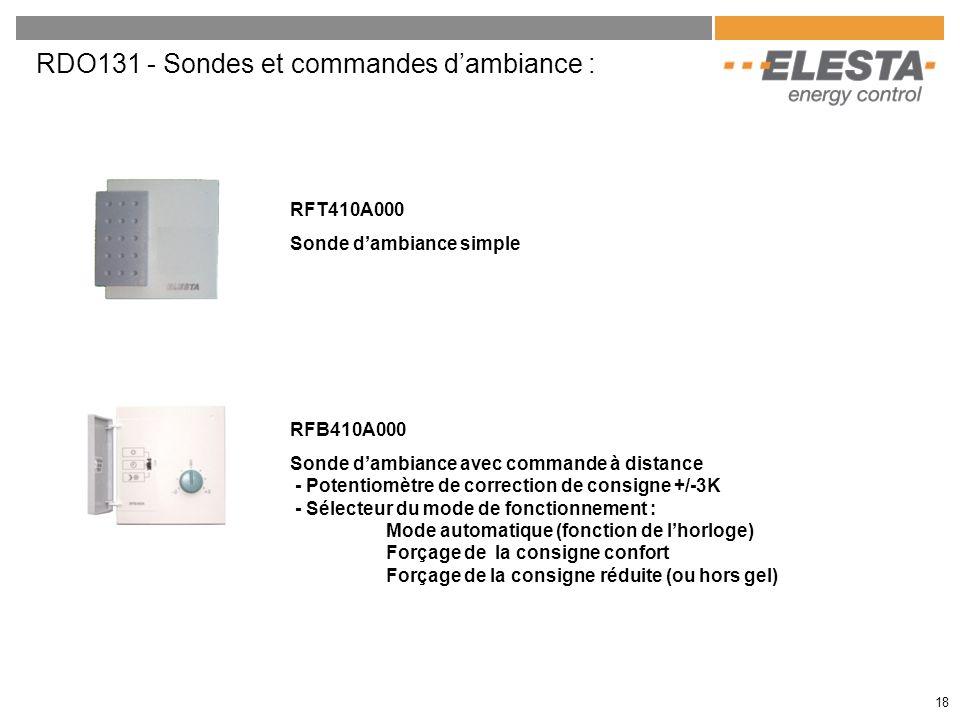 RDO131 - Sondes et commandes dambiance : RFT410A000 Sonde dambiance simple RFB410A000 Sonde dambiance avec commande à distance - Potentiomètre de corr