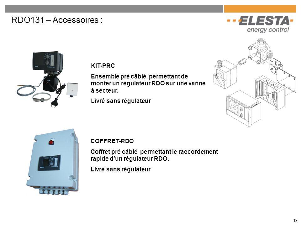 RDO131 – Accessoires : 19 KIT-PRC Ensemble pré câblé permettant de monter un régulateur RDO sur une vanne à secteur. Livré sans régulateur COFFRET-RDO