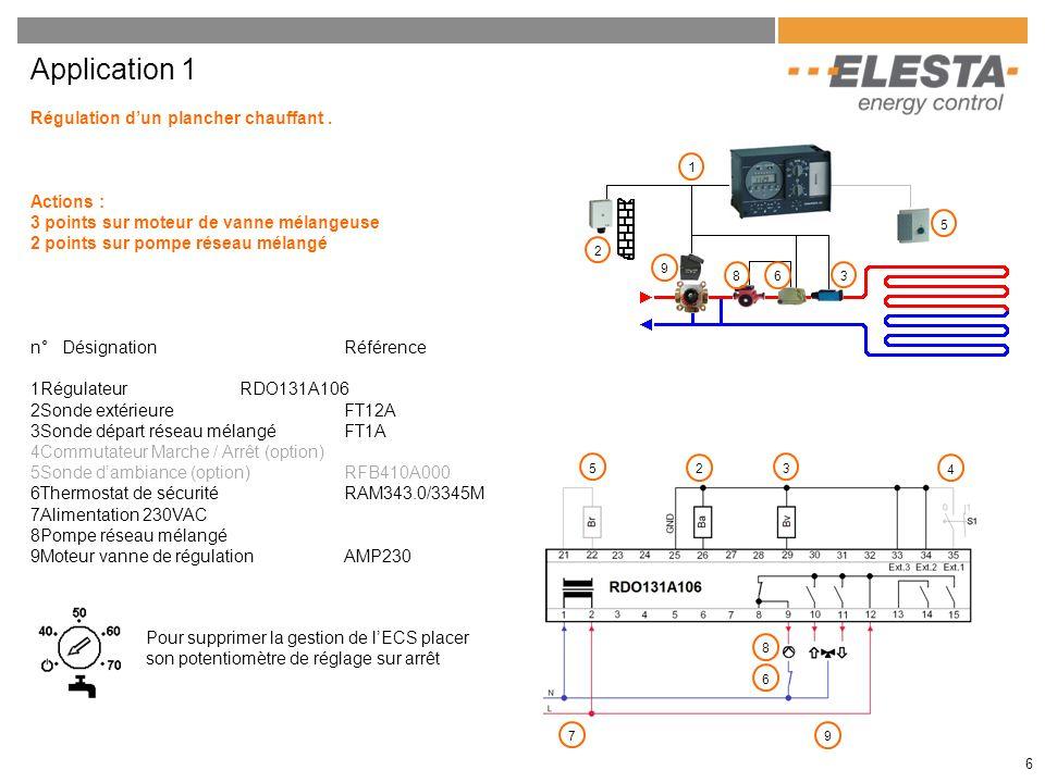 6 Application 1 Régulation dun plancher chauffant. Actions : 3 points sur moteur de vanne mélangeuse 2 points sur pompe réseau mélangé n° DésignationR