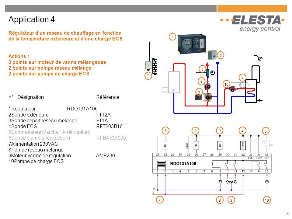 9 Application 4 Régulateur dun réseau de chauffage en fonction de la température extérieure et dune charge ECS. Actions : 3 points sur moteur de vanne