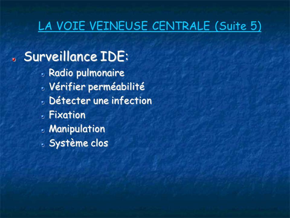 LA VOIE VEINEUSE CENTRALE (Suite 5) Surveillance IDE: Radio pulmonaire Vérifier perméabilité Détecter une infection FixationManipulation Système clos