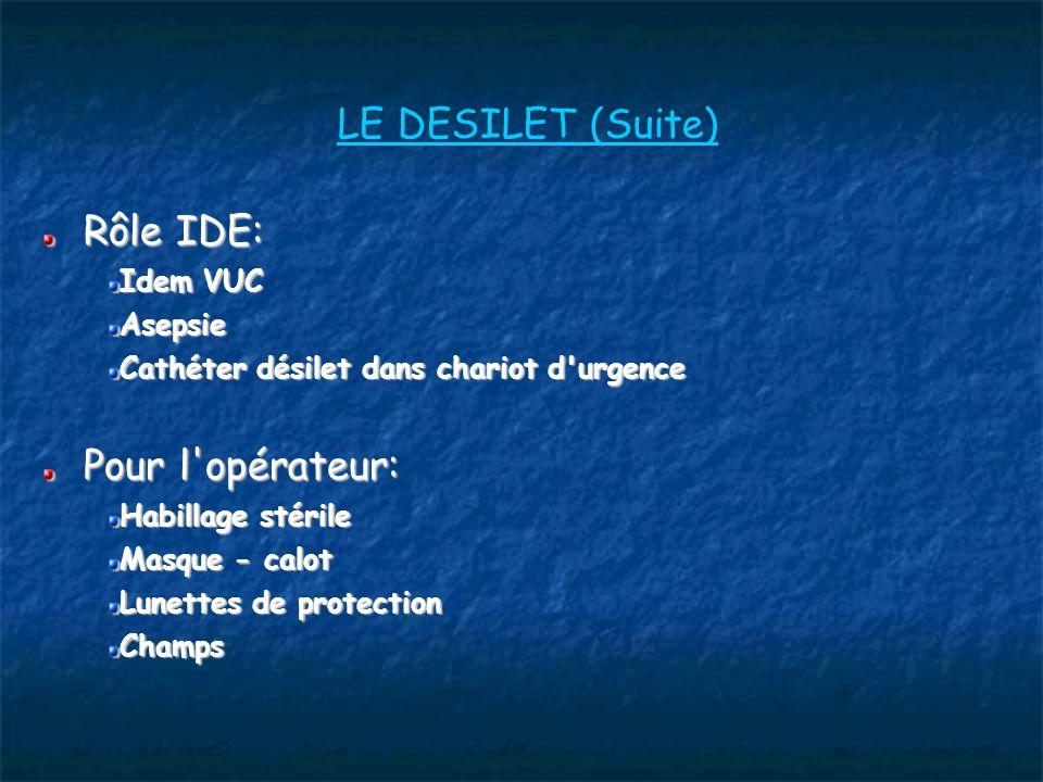 LE DESILET (Suite) Rôle IDE: Idem VUC Asepsie Cathéter désilet dans chariot d urgence Pour l opérateur: Habillage stérile Masque - calot Lunettes de protection Champs
