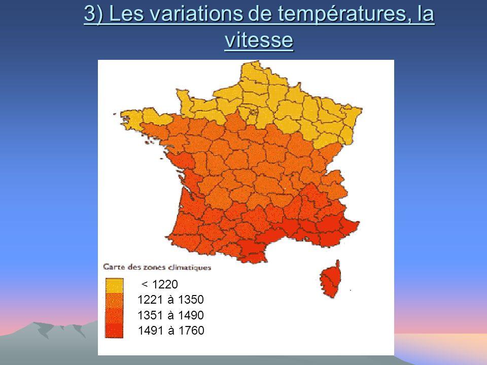 3) Les variations de températures, la vitesse < 1220 1221 à 1350 1351 à 1490 1491 à 1760