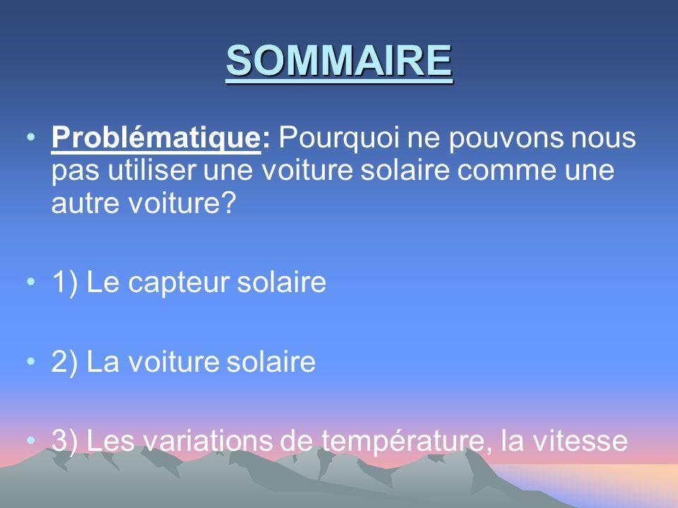 SOMMAIRE Problématique: Pourquoi ne pouvons nous pas utiliser une voiture solaire comme une autre voiture? 1) Le capteur solaire 2) La voiture solaire