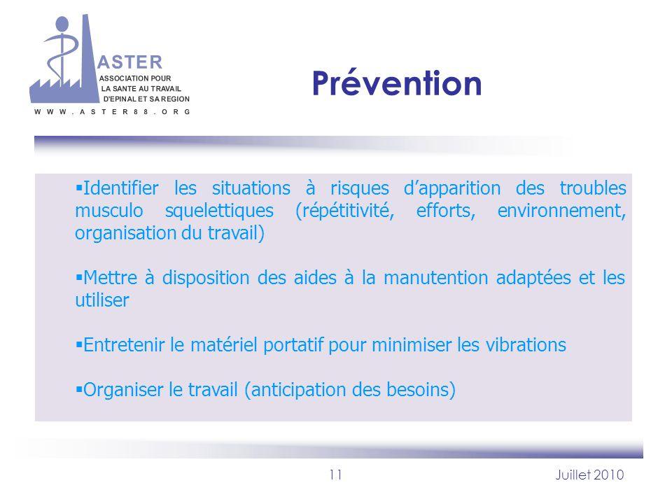 11Juillet 2010 Prévention Identifier les situations à risques dapparition des troubles musculo squelettiques (répétitivité, efforts, environnement, or