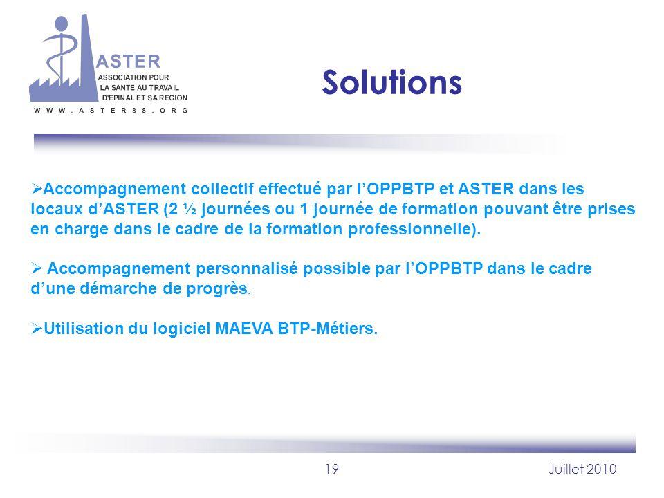 19Juillet 2010 Solutions Accompagnement collectif effectué par lOPPBTP et ASTER dans les locaux dASTER (2 ½ journées ou 1 journée de formation pouvant