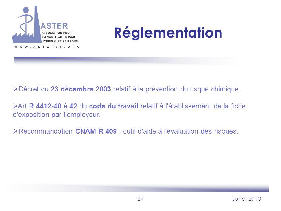 27Juillet 2010 Réglementation Décret du 23 décembre 2003 relatif à la prévention du risque chimique. Art R 4412-40 à 42 du code du travail relatif à l