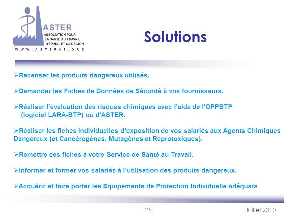 28Juillet 2010 Solutions Recenser les produits dangereux utilisés. Demander les Fiches de Données de Sécurité à vos fournisseurs. Réaliser lévaluation