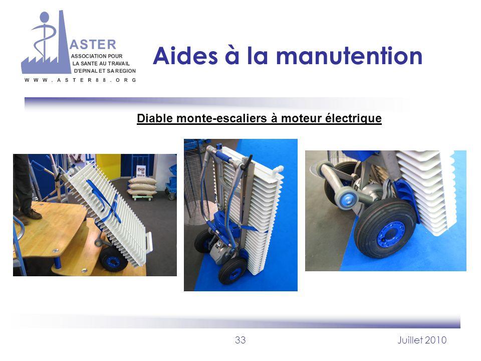 33Juillet 2010 Aides à la manutention Diable monte-escaliers à moteur électrique