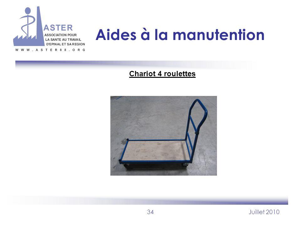 34Juillet 2010 Aides à la manutention Chariot 4 roulettes