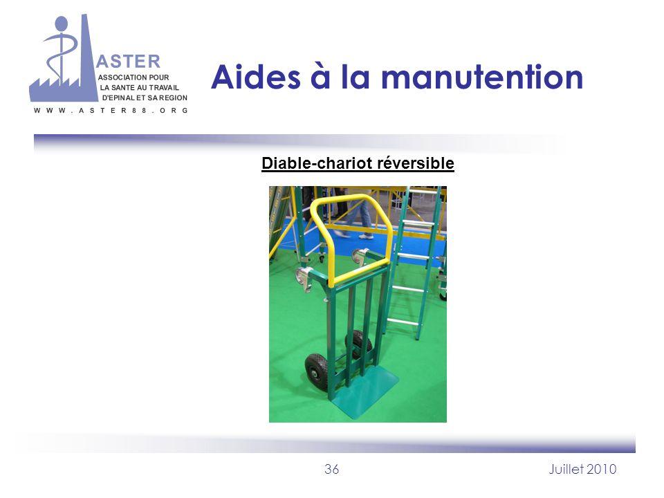36Juillet 2010 Aides à la manutention Diable-chariot réversible