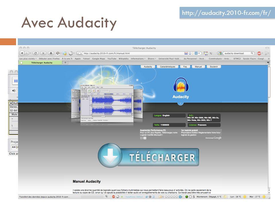 Avec Audacity Valable pour PC et MAC http://audacity.2010-fr.com/fr/