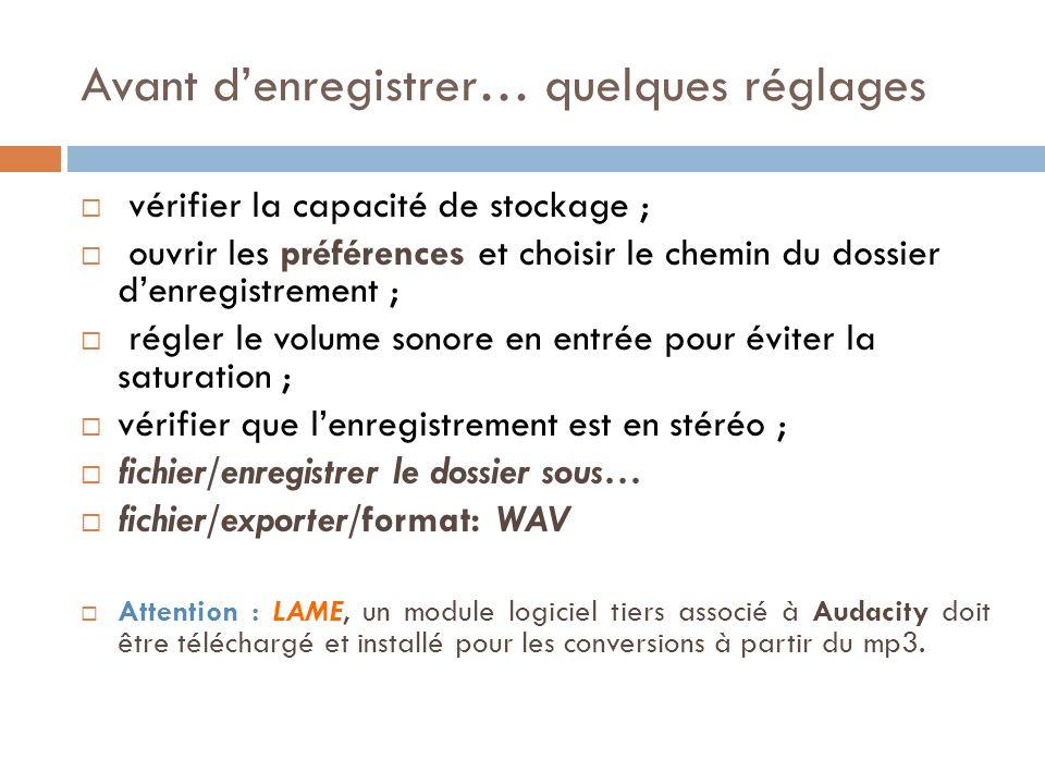 Avant denregistrer… quelques réglages vérifier la capacité de stockage ; ouvrir les préférences et choisir le chemin du dossier denregistrement ; régler le volume sonore en entrée pour éviter la saturation ; vérifier que lenregistrement est en stéréo ; fichier/enregistrer le dossier sous… fichier/exporter/format: WAV Attention : LAME, un module logiciel tiers associé à Audacity doit être téléchargé et installé pour les conversions à partir du mp3.