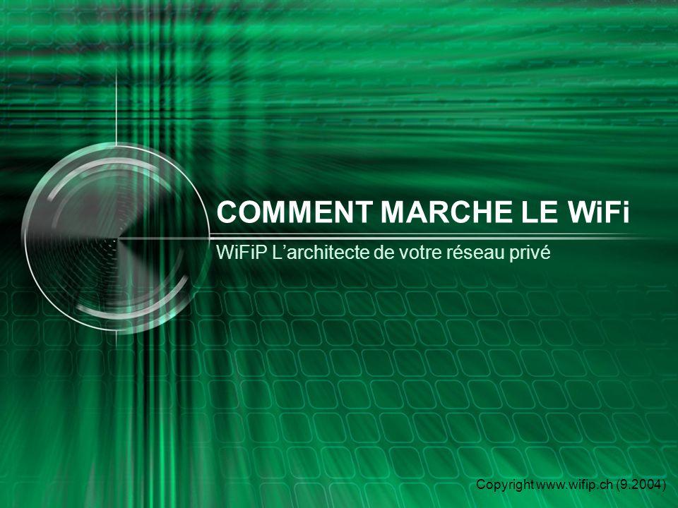 Copyright www.wifip.ch (9.2004) WiFiP Larchitecte de votre réseau privé WiFi WIFIP Claude Buob 9 Chemin de la Gravière 1291 Commugny info@wifip.ch 079-417.15.52 www.wifip.ch Si cela vous intéresse, contactez moi A bientôt