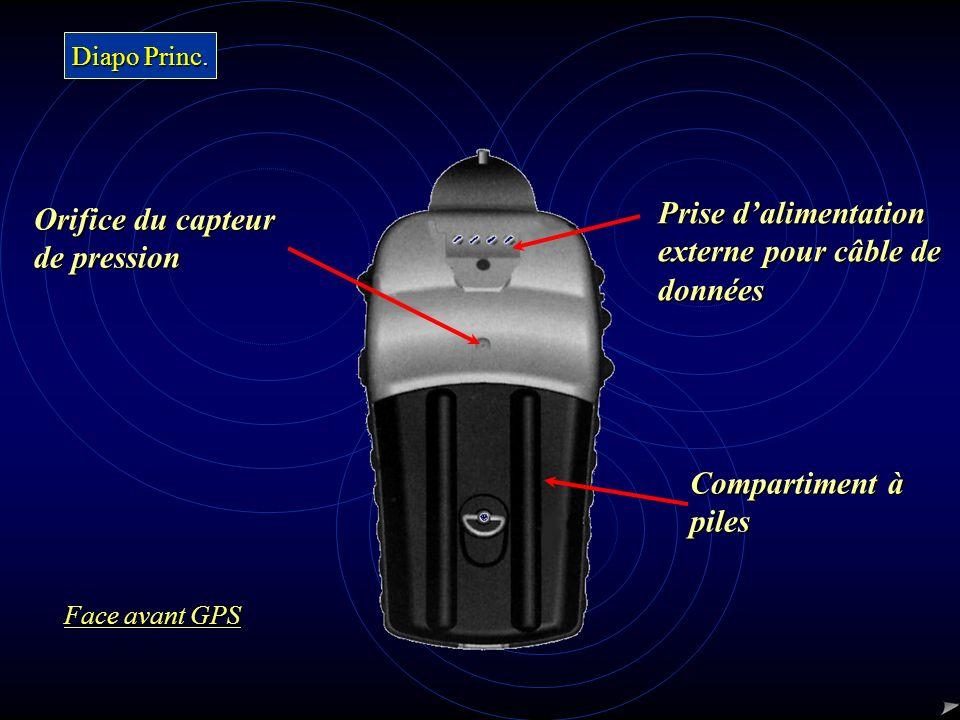 Prise dalimentation externe pour câble de données Orifice du capteur de pression Compartiment à piles Diapo Princ. Diapo Princ. Face avant GPS Face av