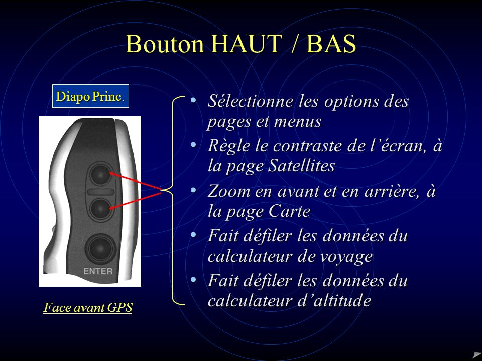 Bouton HAUT / BAS Sélectionne les options des pages et menus Sélectionne les options des pages et menus Règle le contraste de lécran, à la page Satell