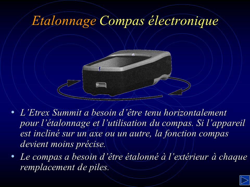 Etalonnage Compas électronique LEtrex Summit a besoin dêtre tenu horizontalement pour létalonnage et lutilisation du compas. Si lappareil est incliné