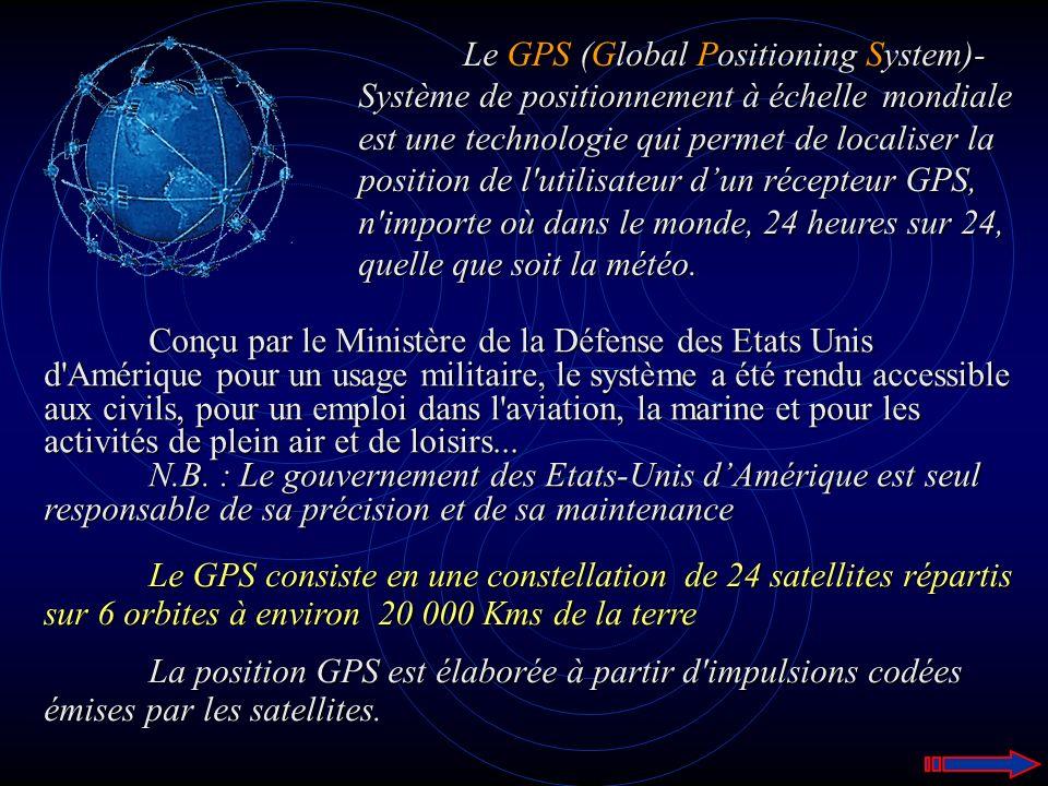 Le GPS (Global Positioning System)- Système de positionnement à échelle mondiale est une technologie qui permet de localiser la position de l'utilisat