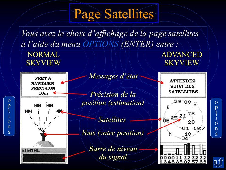 Page Satellites Messages détat Précision de la position (estimation) Vous (votre position) Barre de niveau du signal Satellites Vous avez le choix daffichage de la page satellites à laide du menu OPTIONS (ENTER) entre : NORMAL SKYVIEW ADVANCED SKYVIEW optionsoptions optionsoptions