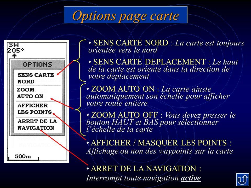 Options page carte SENS CARTE NORD : La carte est toujours orientée vers le nord SENS CARTE NORD : La carte est toujours orientée vers le nord SENS CARTE DEPLACEMENT : Le haut de la carte est orienté dans la direction de votre déplacement SENS CARTE DEPLACEMENT : Le haut de la carte est orienté dans la direction de votre déplacement ZOOM AUTO ON :La carte ajuste automatiquement son échelle pour afficher votre route entière ZOOM AUTO ON : La carte ajuste automatiquement son échelle pour afficher votre route entière ZOOM AUTO OFF : Vous devez presser le bouton HAUT et BAS pour sélectionner léchelle de la carte ZOOM AUTO OFF : Vous devez presser le bouton HAUT et BAS pour sélectionner léchelle de la carte AFFICHER / MASQUER LES POINTS : Affichage ou non des waypoints sur la carte ARRET DE LA NAVIGATION : Interrompt toute navigation ARRET DE LA NAVIGATION : Interrompt toute navigation active