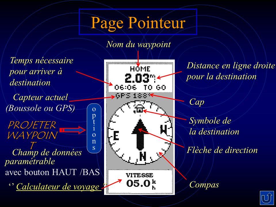 Page Pointeur Distance en ligne droite pour la destination Cap Symbole de la destination Compas Temps nécessaire pour arriver à destination Nom du way