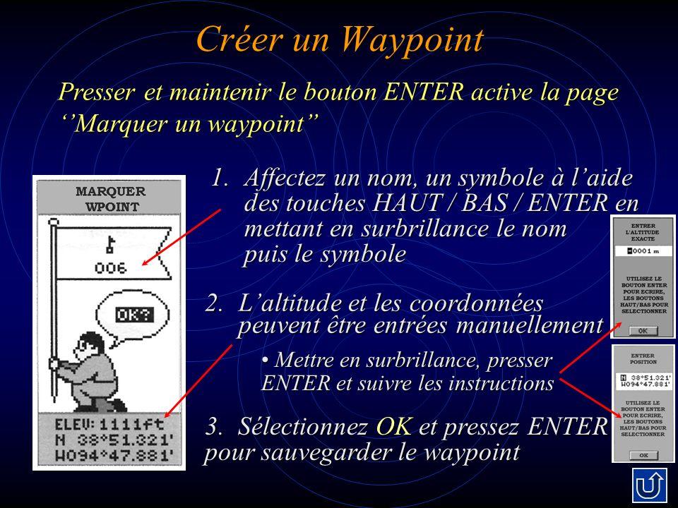 Créer un Waypoint 1.Affectez un nom, un symbole à laide des touches HAUT / BAS / ENTER en mettant en surbrillance le nom puis le symbole Presser et maintenir le bouton ENTER active la page Marquer un waypoint 2.Laltitude et les coordonnées peuvent être entrées manuellement 3.