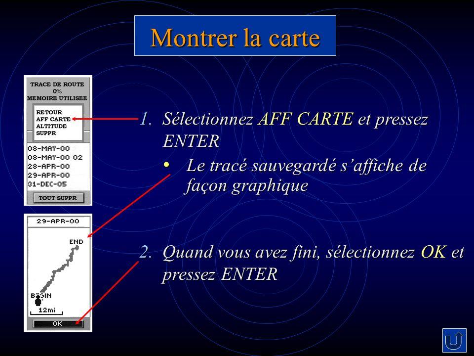 Montrer la carte 1. Sélectionnez AFF CARTE et pressez ENTER Le tracé sauvegardé saffiche de façon graphique Le tracé sauvegardé saffiche de façon grap