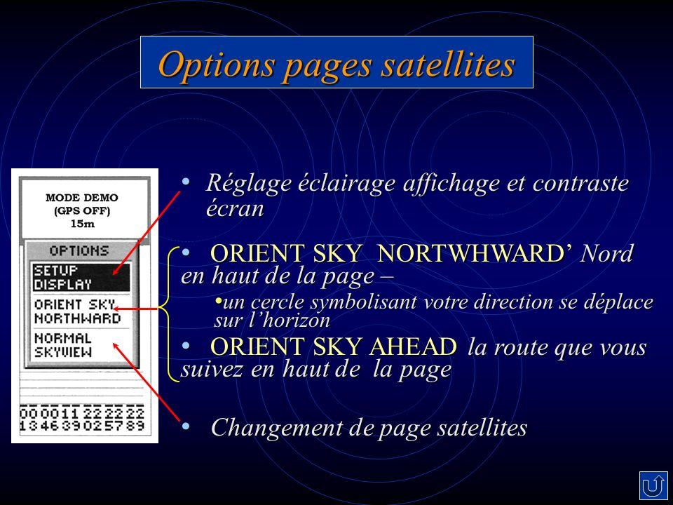 Options pages satellites Réglage éclairage affichage et contraste écran Réglage éclairage affichage et contraste écran ORIENT SKY NORTWHWARD Nord en h