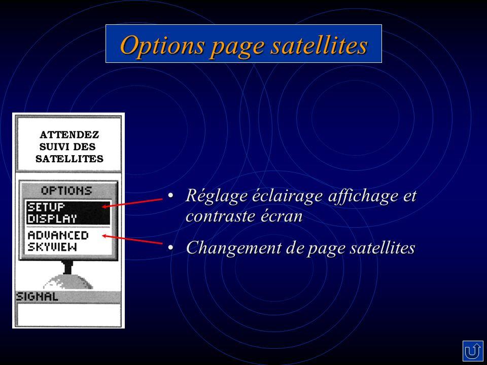 Options page satellites Réglage éclairage affichage et contraste écranRéglage éclairage affichage et contraste écran Changement de page satellitesChan