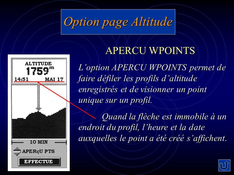 Option page Altitude Loption APERCU WPOINTS permet de faire défiler les profils daltitude enregistrés et de visionner un point unique sur un profil. Q