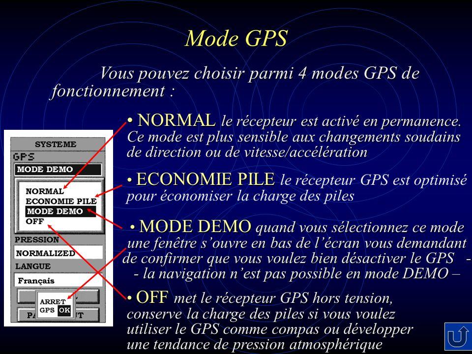Mode GPS NORMAL le récepteur est activé en permanence.