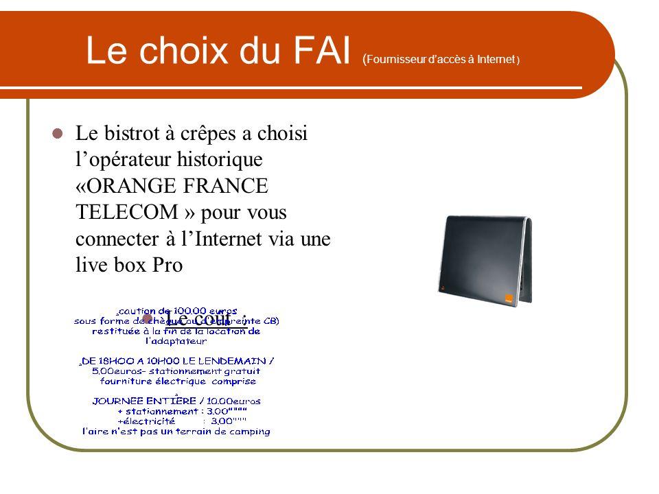 Le choix du FAI ( Fournisseur daccès à Internet ) Le bistrot à crêpes a choisi lopérateur historique «ORANGE FRANCE TELECOM » pour vous connecter à lI