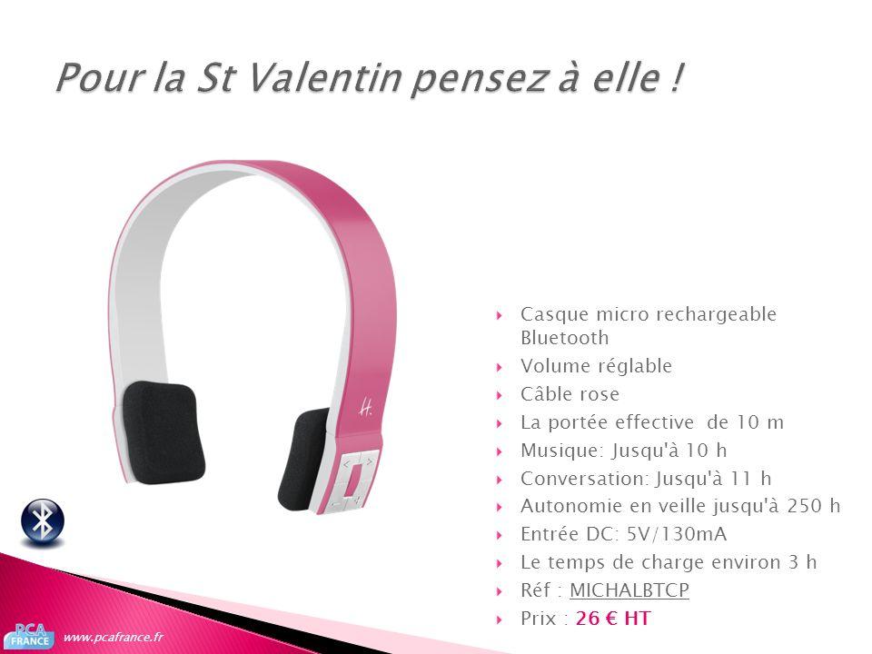 Casque micro rechargeable Bluetooth Volume réglable Câble rose La portée effective de 10 m Musique: Jusqu'à 10 h Conversation: Jusqu'à 11 h Autonomie