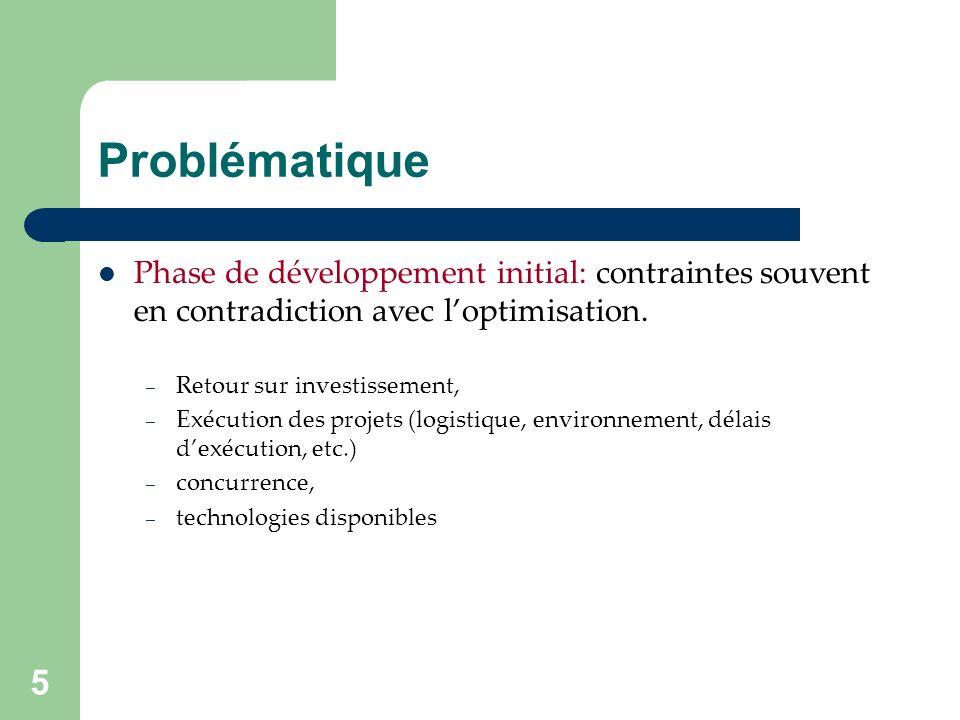 5 Phase de développement initial: contraintes souvent en contradiction avec loptimisation.