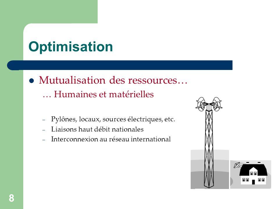 8 Optimisation Mutualisation des ressources… … Humaines et matérielles – Pylônes, locaux, sources électriques, etc.