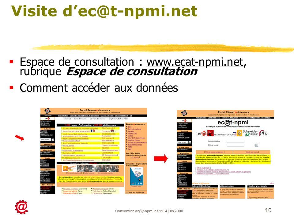 Convention ec@t-npmi.net du 4 juin 2008 10 Visite dec@t-npmi.net Espace de consultation : www.ecat-npmi.net, rubrique Espace de consultation Comment a