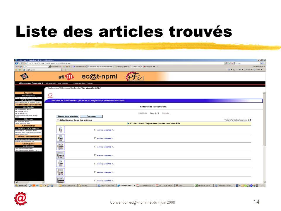 Convention ec@t-npmi.net du 4 juin 2008 14 Liste des articles trouvés