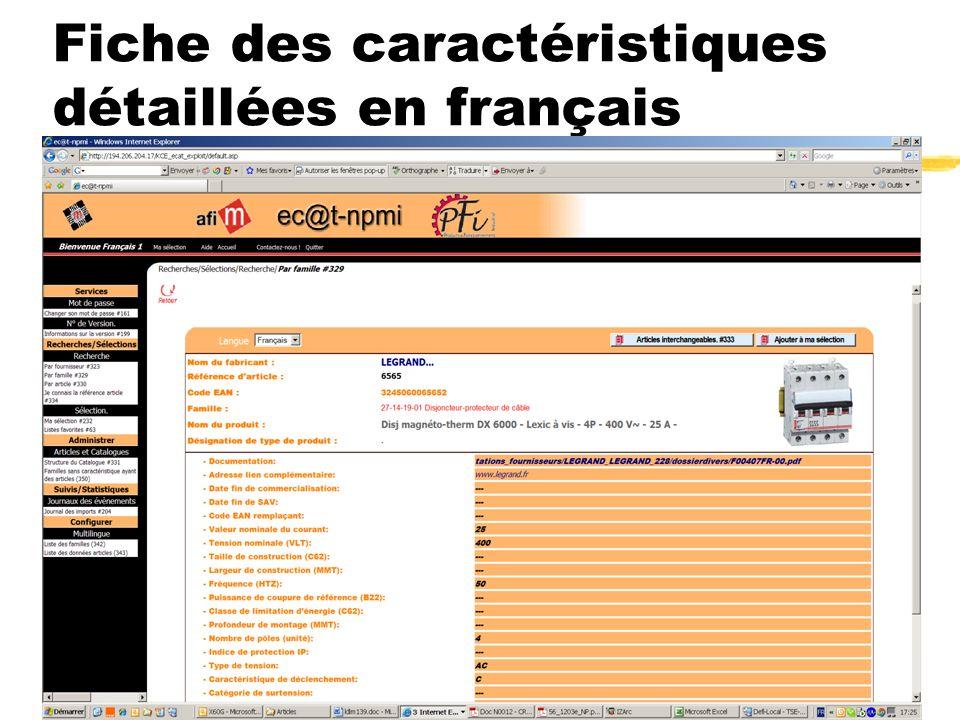 Convention ec@t-npmi.net du 4 juin 2008 15 Fiche des caractéristiques détaillées en français