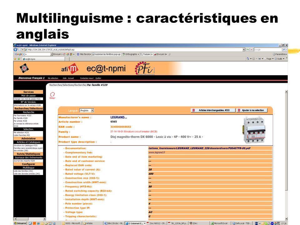 Convention ec@t-npmi.net du 4 juin 2008 16 Multilinguisme : caractéristiques en anglais